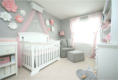 My child ladies nursery. I like the pink, greys and white. Large Paper Flowers have been made by me as nicely. Nursery Room, Baby Room, Pink Grey, Grey And White, Baby Girl Nursery Pink And Grey, Flower Nursery, Large Paper Flowers, Girl Room, Cribs
