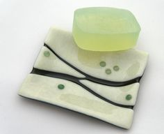 Soap Dish, Fused Glass, Bathroom Decor - Cream with Green Accents