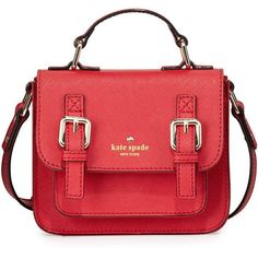 kate spade new york scout girls' saffiano leather crossbody bag ($148) ❤ liked on Polyvore featuring bags, handbags, shoulder bags, red, crossbody handbags, kate spade crossbody, crossbody flap purse, red cross body purse y red handbags