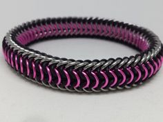 Stretchy Pink Reversible Dragonback Chainmaille Bracelet