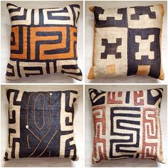 I have been admiring kuba cloth pillows and loving their bold graphic patterns. Two weeks ago I spotted these beautiful African stools, colo. African Interior Design, African Design, African Textiles, African Fabric, African Furniture, Style Africain, Ethnic Decor, Tribal Decor, African Theme