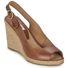 Lovely open toe brown leather wedge sandals with a heel strap, by @dunelondon #shoes #sandals #heels #wedges #leather #dune #rubbersole #uk