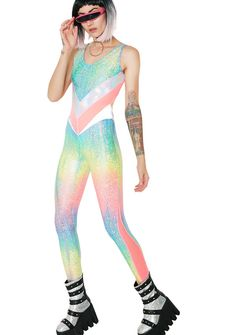 Burnt Soul Rainbow Jewel Peekaboo Catsuit ur such a ray of light, babe! This supa cute catsuit has a stretchy fit, holographic glitter print, sheer mesh panels and sexxy cut-out lower back.