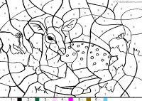 printable paint by number deer animal_color_by_number color by number deer coloring pages - Paint Coloring