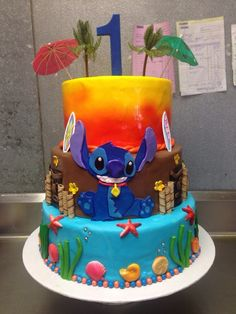 Some Cool Lilo & Stitch themed cakes / Lilo & Stitch cakes - Crust N Cakes Hawaiian Birthday, Luau Birthday, Birthday Cake, Birthday Ideas, Lilo And Stitch Cake, Lilo Et Stitch, Victoria Bakery, Birthday Party Desserts, Disney Cakes