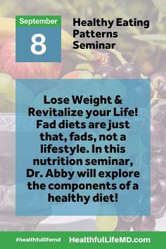 Seminar Speaker:  Dr. Abby Bleistein  Board Certified Obesity Medicine Specialist  When:      Thursday, September 8, 2016 from 6:30 PM to 8:30 PM (MDT)  Where:    Natural Grocers  – 2401 Ford Street, Golden, CO 80401  Click Here to Register:  https://www.eventbrite.com/e/healthy-eating-patterns-lose-weight-and-revitalize-your-life-free-seminar-golden-colorado-982016-tickets-27396593950