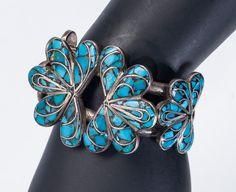 Southwestern Inlay Bracelet -Stunning Turquoise Channel Inlaid - Mid Century Heavy Cuff - Best Buy