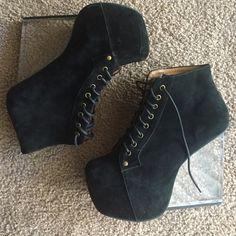 "Jeffrey Campbell Black Suede Boots (8.5) Jeffrey Campbell Dina Boot. Genuine Suede. Clear heel. Heel 5"". Platform 2"". Easy to wear. One heel slightly scuffed but hard to see when worn. Pretty badass platform boots! Jeffrey Campbell Shoes Platforms"