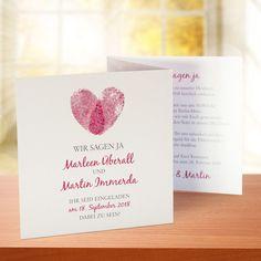 Einladungskarte Hochzeit Fingerabdrücke rot