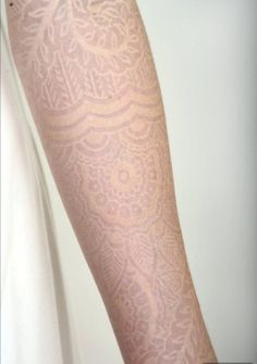 White Tattoo Lace sleeve by Watson Adkinson... by imogene