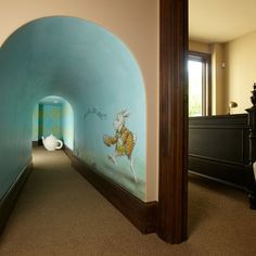 Edina, Hilldale Neighborhood Custom Designed Home - Alice in Wonderland Playroom