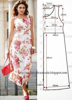 Moldes Moda por Medida: VESTIDO FÁCIL DE FAZER - 33 - Like this dress because the neck line is higher than most dresses I have seen. Diy Clothing, Sewing Clothes, Dress Sewing Patterns, Clothing Patterns, Sewing Ideas, Fashion Sewing, Diy Fashion, Diy Kleidung, Diy Vetement