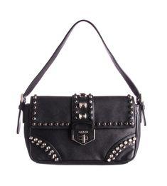 8ea0ec3399f4ac PRADA Black Saffiano Leather Turnlock Studded Flap Shoulder Bag ebay   pinterest  fashion