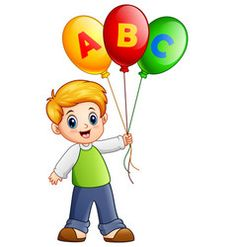 Cartoon boy holding alphabet balloon vector image on Art Drawings For Kids, Drawing For Kids, Cute Drawings, Cartoon Boy, Cartoon Pics, Calin Gif, Girl Holding Balloons, Adobe Illustrator, School Book Covers