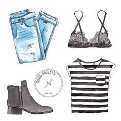 "valeriarienzi: "" Good objects - Black, denim & stripes #outfit #goodobjects """