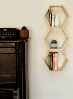 Set of 3 Natural Finish Floating Honeycomb Shelves