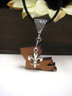 Louisiana State Wood Charm Necklace, Fleur de lis Necklace, Suede Necklace, New Orleans Jewelry, Louisiana Jewelry, Louisiana Charm Necklace by Vieuxtique on Etsy