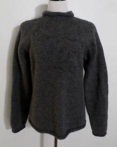 J CREW Sweater 100% Wool Turtle Neck Heavy & Warm Dark Gray Size L  #JCrew #TurtleneckMock