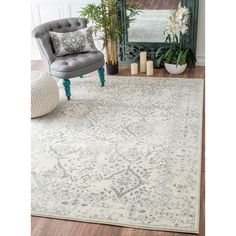 nuLOOM Vintage Floral Ornament Ivory Rug (7'10 x 10'10) | Overstock.com Shopping - The Best Deals on 7x9 - 10x14 Rugs
