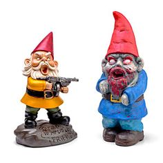 Zombie Apocalypse Garden Gnomes - of course, they would need to come with a five or six foot electrical-tazing spike to set them in the ground with, or else someone would steal them immediately.