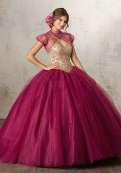Look stunning in a Mori Lee Vizcaya Quinceanera Dress Style Number 89133 at your Sweet 15 party. Made out of tulle, this Quince dress features a spaghetti strap top, exquisitely beaded V-neck bodice,