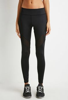 Mesh-Insert Athletic Leggings - Activewear - Bottoms - 2000143206 - Forever 21 EU English