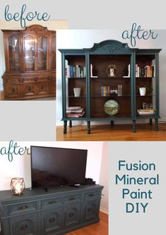 Hutch Transformed into Book Shelf & TV Stand. Grateful that my mom convinced me . - Hutch Transformed into Book Shelf & TV Stand. Grateful that my mom convinced me she could turn my g - Refurbished Furniture, Repurposed Furniture, Furniture Makeover, Painted Furniture, Refurbished Cabinets, Repurposed China Cabinet, Furniture Projects, Furniture Making, Diy Furniture