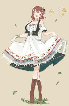 Fantasy Character Design, Character Design Inspiration, Character Art, Girls Characters, Anime Characters, Mode Costume, Anime Maid, Anime Dress, Fashion Design Drawings