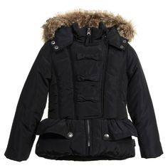 Jottum Girls Dark Navy Blue Padded Coat at Childrensalon.com