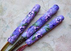 Crochet Hook Set, Boye, G, H, and I, Floral on Violet. $25.00, via Etsy.