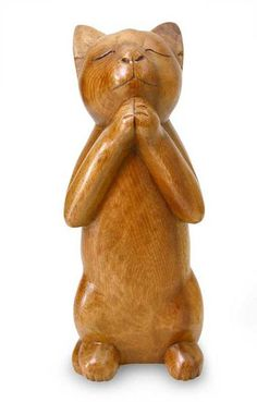 Handcrafted Prayer Sculpture - Wishing Cat - Received Christmas 2013 from Jeff.