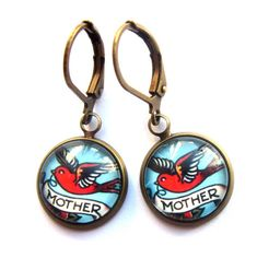 Retro Mother Tattoo Earrings Kitsch Pin Up Glass and Antiqued