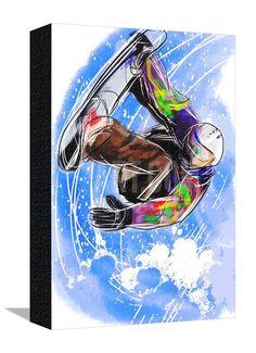 Hand Draw Snowboarding Sports Art Print - 46 x 61 cm Cute Disney Drawings, Fun Winter Activities, Sports Art, Sports Posters, Christmas Paintings, Snowboarding, Find Art, Framed Artwork, How To Draw Hands