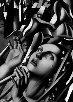 Tamara de Lempicka - Joan of Arc - 1932 - Oil on wood panel 41 x 27 cm - Unknown collection - Tamara Lempicka, Art Deco Artists, Jeanne D'arc, Estilo Art Deco, Art Deco Movement, Joan Of Arc, Wow Art, Cubism, Hollywood Stars