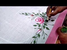 white and pink combination one stroke painting sarees matching blouse design Fabric Painting On Clothes, Dress Painting, One Stroke Painting, Painted Clothes, Fabric Paint Shirt, Hand Painting Art, Saris, Saree Painting Designs, Fabric Paint Designs