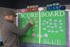 HAHAHA! A score board for everyone to make bets... obviously we'd do black and purple.
