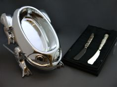 """The MOA Shop: """"Song of Frog Bowl & Eagle Whale Pate Knives"""" by Tsimshian artist Terry Starr."""