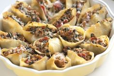 Sausage Stuffed Shells Recipe with Spinach from www.inspiredtaste.net #pasta #recipe