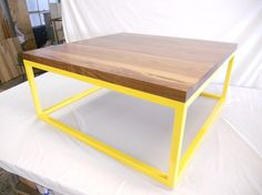 Walnut Lounge Table, Bright Yellow $1325