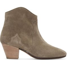 Isabel Marant Taupe Suede Dicker Ankle Boots (660 CAD) ❤ liked on Polyvore featuring shoes, boots, ankle booties, ankle cowboy boots, ankle high boots, western booties, taupe booties and western boots