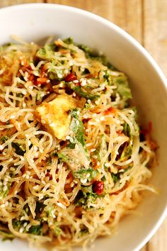 Raw Kelp Noodles with Kale and Garlic Almond Miso Dressing - Noodles and Pasta, Raw Vegan, Recipes - Divine Healthy Food
