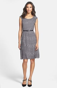 Belted Cap Sleeve Pleat Dress (Regular & Petite)-- great coverage for work, cute shape and pattern for me