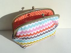 Wave Stripe Multi Color Printed Cosmetic Bag by cheekyleopard, $26.00