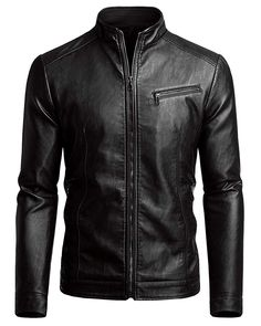 Shop the latest collection of Fairylinks Men's Casual Motorcycle Faux Leather Jacket from the most popular stores - all in one place. Leather Jackets Online, Faux Leather Jackets, Leather Men, Black Leather, Mens Fashion Wear, Big Men Fashion, Fashion Hats, Leather Jacket Outfits, Men Style Tips