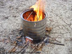 Hobo Stove. This is light enough to go with you in your #bugout bag. #survival