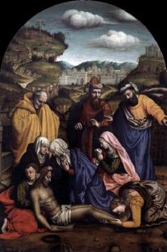 NELLI, Plautilla (b. 1523, Firenze, d. 1588, Firenze)   Click! Lamentation  - Oil on panel, 288 x 192 cm Museo di San Marco, Florence  This painting is the best known work of the artist. Originally it was on the altar of the church at the Florentine convent of Santa Caterina, where Nelli lived as a nun and served repeatedly as abbess. The composition derives from Fra Bartolomeo's Lamentation (1511-12), but she included two additional women next to the Virgin. All figures are highly…