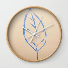 blue leaf Wall Clock by afrorubini Wall Clock Frame, White Frames, Unique Wall Clocks, Blue Leaves, Home Deco, Natural Wood, Hands, Deep, Crystals