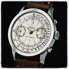 Rolex chronograph, ref. 2508, retailed by Bucherer. #rolex #chronograph #bucherer #100superlativerolexwatches #vintagerolexapp #johngoldberger
