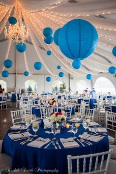 The Paradise Ballroom with blue lantern decor at the Herrington on the Bay resort. Great combination of inside and outside.