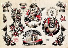 """Popeye Tattoo Flash"" by Mr. Bram #popeye"